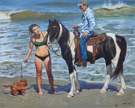 "William B. Hoyt | Pinto on the Beach | Oil on Linen Mounted on Panel | 16"" X 20"" 