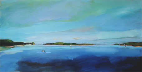 "Claire Bigbee | Azure Sky over Casco Bay | Acrylic | 24"" X 48"" 