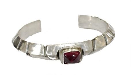 Bracelet - Sterling Silver Carved Cuff With Dark Pink Tourmaline  RW212