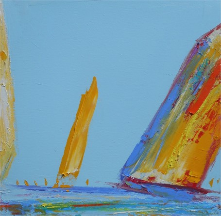 "Janis H. Sanders | Summer Sail III | Oil on Canvas | 12"" X 12"" 