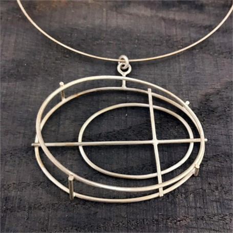 """Sterling Silver Necklace: Large Oval Structure on a 16"""" Cable"""