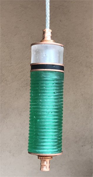 Hanging Totems - Single Tube - Turquoise, Frost & Black Cast Glass