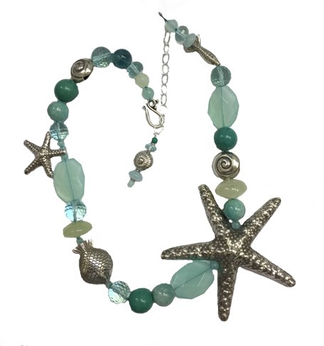 KY 1243 Single strand necklace with Chinese turquoise, ammonite & chalcedony