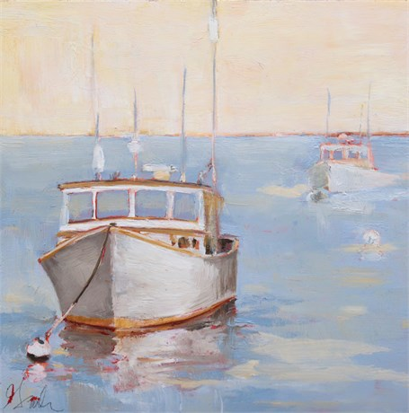 "Ellen Welch Granter | Lobster Boat | Oil on Cradled Panel with Metal Leaf | 8"" X 8"" 