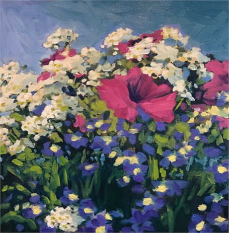 "Margaret Gerding | Day 15 (Dock Square Flower Box) | Oil on Canvas | 12"" X 12"" 