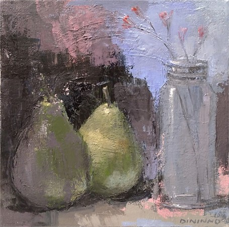 Still Life (Pears & Jar with Dried Flowers)