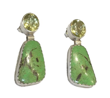 Earrings - Green Gaspiete & Yellow Quartz DD-100