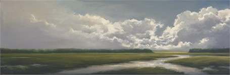 "Margaret Gerding | Clouds on the Horizon I | Oil on Canvas | 18"" X 54"" 