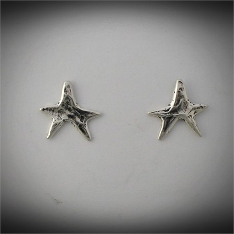 Earrings - Cast Sterling silver stars, with post. #30512