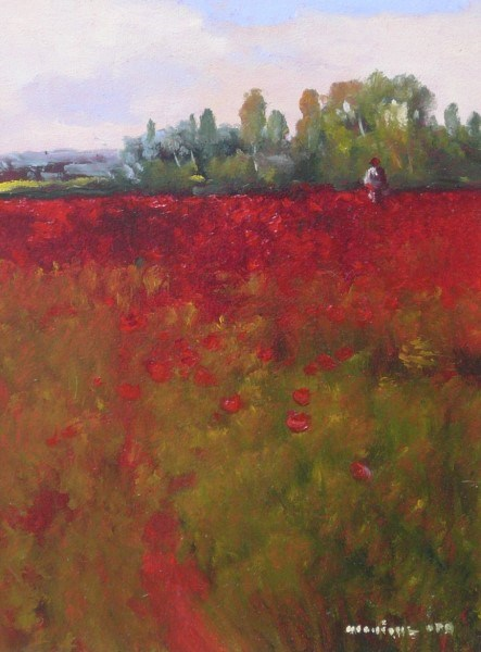 "Monique Sakellarios | Paula's Poppies | Oil | 12"" X 9"" 
