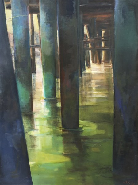 "Holly Ready | Green Water Passage | Oil on Canvas | 42"" X 32"" 
