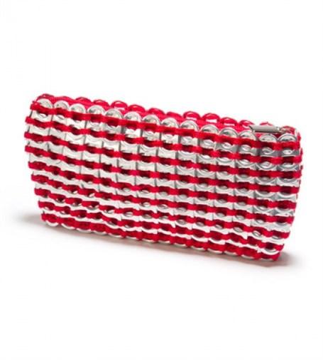 Mini Clutch - Red Crocheted Pull Tab