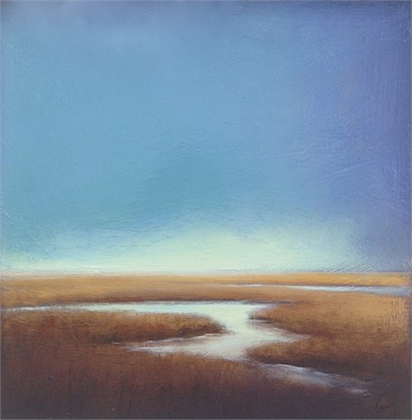 "Margaret Gerding | Blue Morning Haze | Oil on Panel | 16"" X 16"" 