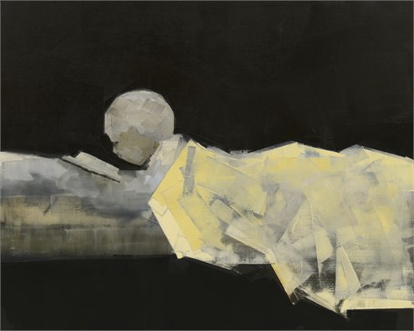 "Rebecca Kinkead | Reader | Oil and Wax on Linen | 48"" X 60"" 