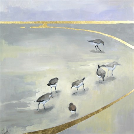 """Ellen Welch Granter   Begin and End   oil and gold leaf on panel   24"""" X 24""""   Sold"""