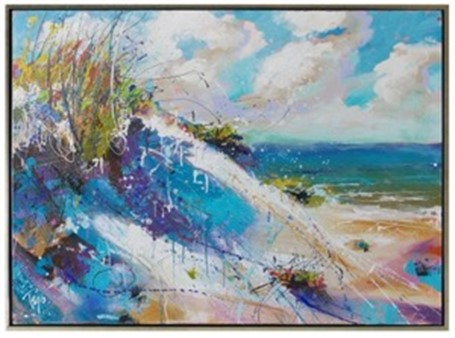 "Trip Park | Playtime Beach | Acrylic and Mixed Media on Canvas | 36"" X 48"" 