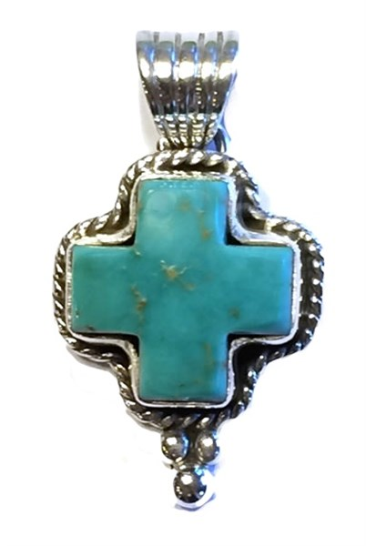 Pendant - Small Turquoise Cross