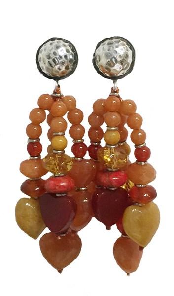 KY 1219 - Post Earrings - Aventurine, Spiny Oyster, Carnelian & Silver