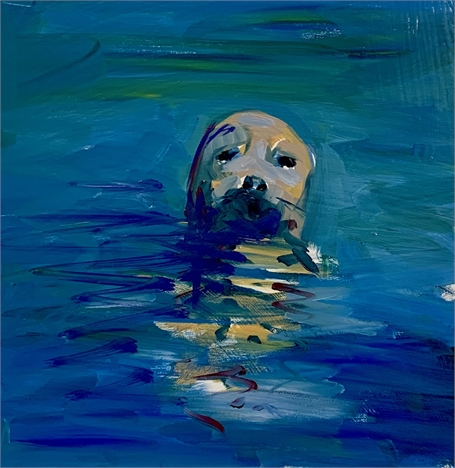 "Craig Mooney | Swim | Oil on Panel | 12"" X 12"" 