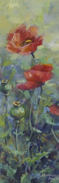 "Sandra L. Dunn | Poppies | Oil on Canvas | 12"" X 4"" 