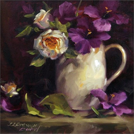 "Sandra L. Dunn | Magenta Glads and White Rose | Oil | 12"" X 12"" 