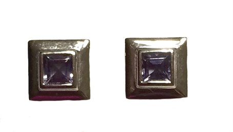 Earrings-Square Iolite set in Sterling Silver