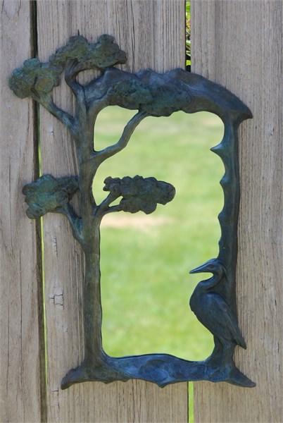 Mirror - Heron In Bronze