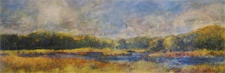 "Susan Wahlrab | Tidal River | Varnished Watercolor on Archival Claybord | 6"" X 18"" 