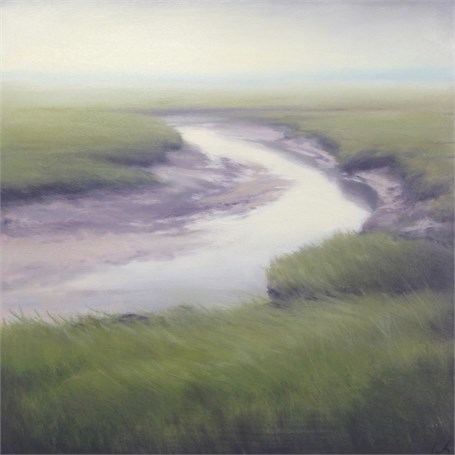 "Margaret Gerding | Marsh in Fog III | Oil on Panel | 16"" X 16"" 