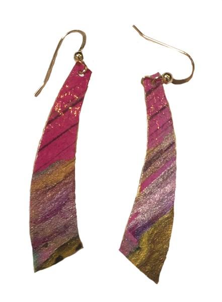 Earrings - Handpainted Paper Triangles