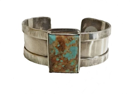 Bracelet - Sterling Silver Cuff With Overlay on Edges Set With Sonoran Turquoise DD111