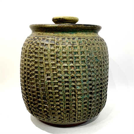 "Richard Winslow | Textured Pot with Lid in Green | Ceramic | 7.5"" X 7"" 