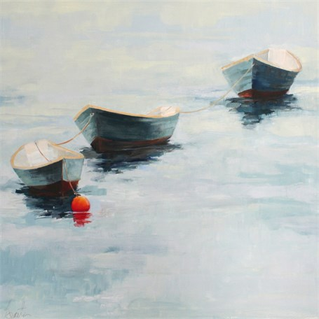 "Ellen Welch Granter | Dories 2 | Oil on Panel | 20"" X 20"" 