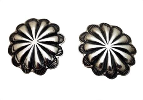 Earring - Sterling Silver Flower Conchos