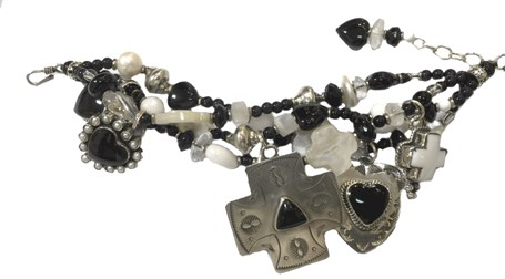 KY 1235 - Hearts and Crosses Four strand bracelet, mother of pearl, black onyx, white jade
