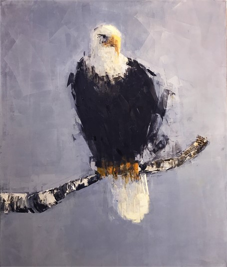 "Rebecca Kinkead | Bald Eagle (Perched) | Oil and Wax on Linen | 36"" X 30"" 
