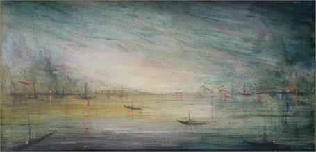 "John LeCours | Twilight | Oil on Canvas | 10"" X 20"" 