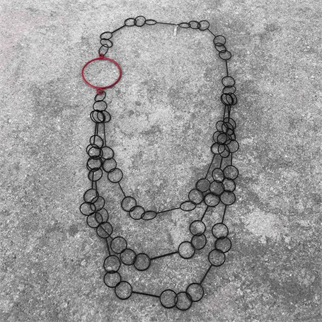 Steel Necklace: Cascade with Red Circle