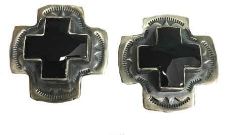 Earring - Sterling Silver Square Cross With Onyx