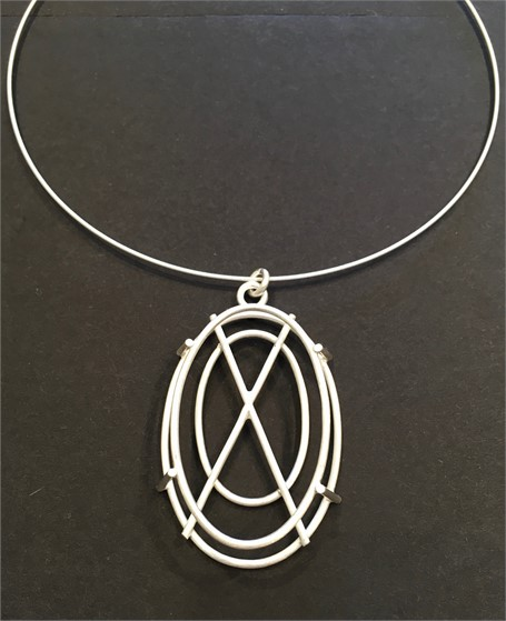 Necklace: Small Oval Structure in Silver