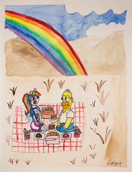 Homer + Rainbow at the Picnic in New Zealand