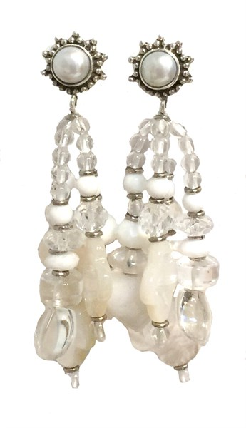 KY 1221 - Post Earrings - Rock Crystal, Mother of Pearl With Silver