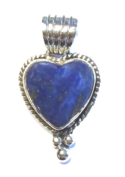 Pendant - Small Lapis Heart w/Sterling Silver