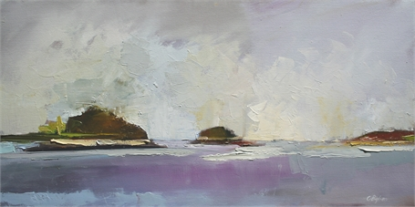 "Claire Bigbee | Misty Morning at 5 Islands | Oil on Canvas | 15"" X 30"" 