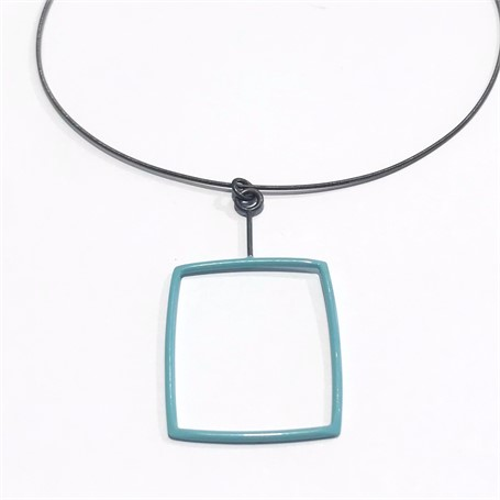Powder Coated Necklace: Pale Blue Rectangle