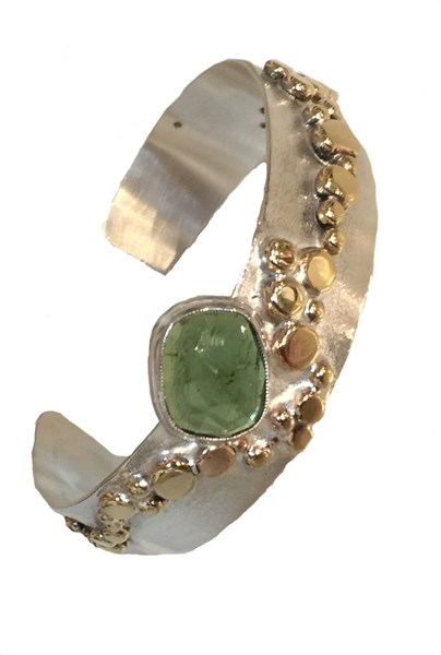 Bracelet - Sterling Silver & Gold Alloy Cuff Set with Green Tourmaline