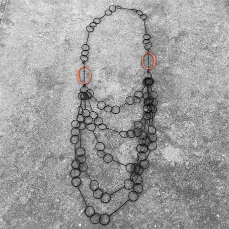Steel Necklace: 5 Strand Cascade with Orange Ovals