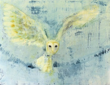 "Rebecca Kinkead | Barn Owl (Blue Yonder) | Oil and Wax on Linen | 42"" X 54"" 