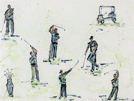#448 Pastel Golfers on White