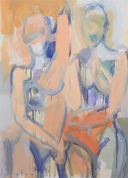 two figures, orange and blue